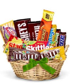Chocolate Candy Gift Basket Green Bow