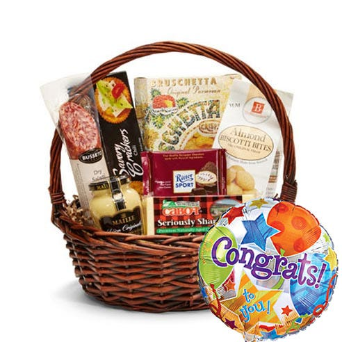 Gourmet Congratulations Gift Basket And Balloon