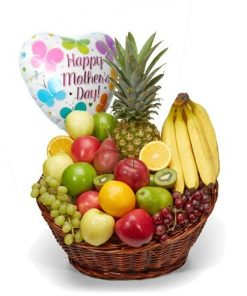 Mothers Day Fruit Basket With Balloon