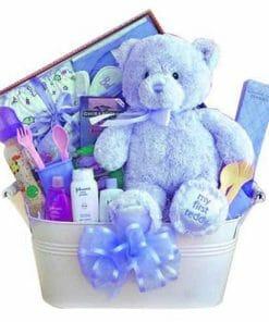 My first Teddy Bear - Baby Blue Gift Basket