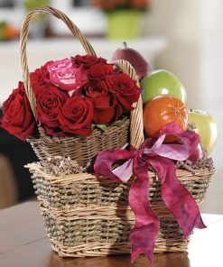 Order Fresh Fruit and Flowers Gift Basket For A Loved One