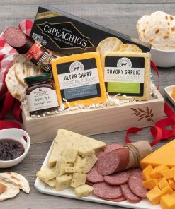 Sausage, Cheese and Crackers Gift Basket